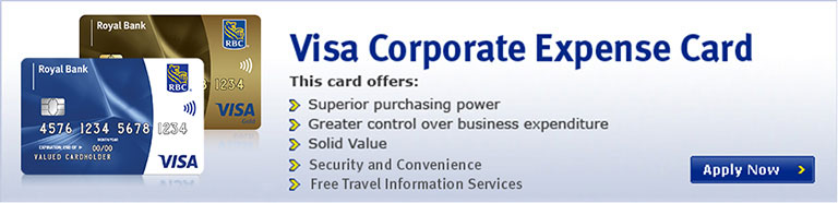Visa Corporate Expense Card - This card offers: Superior purchasing power, Greater control over business expenditure, Solid Value, Secuity and Convenience, Free Travel Accident and Auto Rental Insurance
