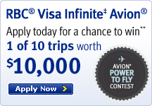Visa Infinite Avion - Apply today for a chance to win 1 of 10 trips worth 10,000
