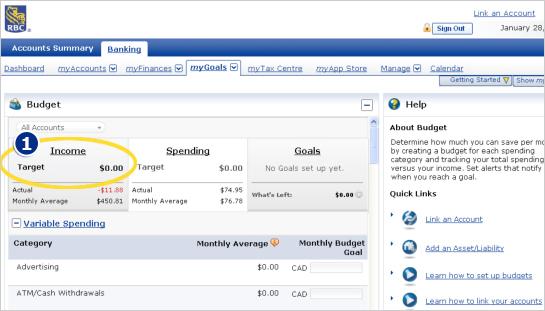 Setting up a Budget in myFinanceTracker - RBC Royal Bank