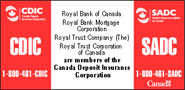 Royal Bank of Canada, Royal Bank Mortgage Corporation, Royal Trust Company (The), Royal Trust Corporation of Canada are members of the Canada Deposit Insurance Corporation