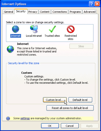 Internet Options - Security Tab