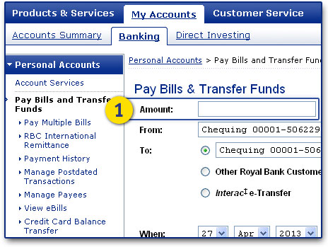 Under My Accounts/Banking/Pay Bills & Transfer Funds, enter how much to transfer