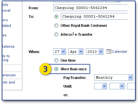 Select the More than once option & how frequent: monthly, weekly, biweekly